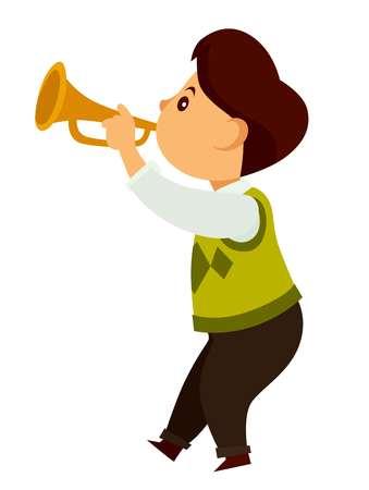 Petit enfant talentueux joue sur une petite trompette dorée