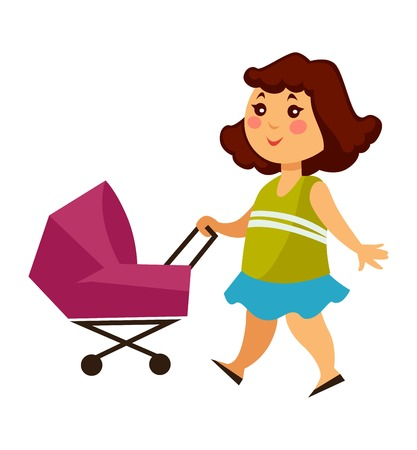 Little girl walks with baby carriage for dolls