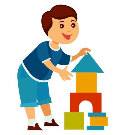 Cheerful child builds high tower of colorful blocks  イラスト・ベクター素材