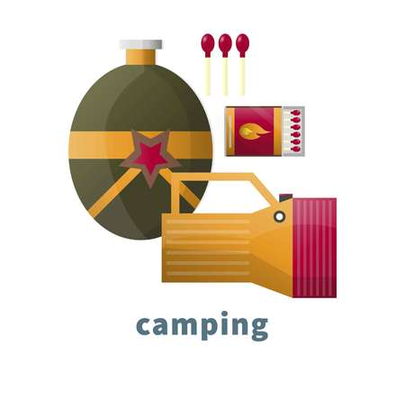 Camping tools or camp accessory vector icons