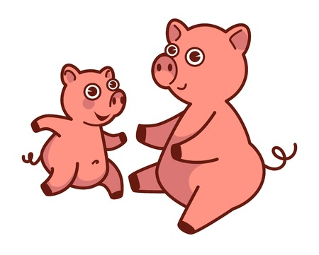Mother pig about to hug her baby that runs