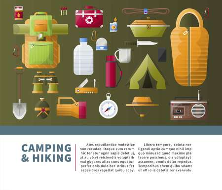 Summer camping and hiking vector poster Illustration