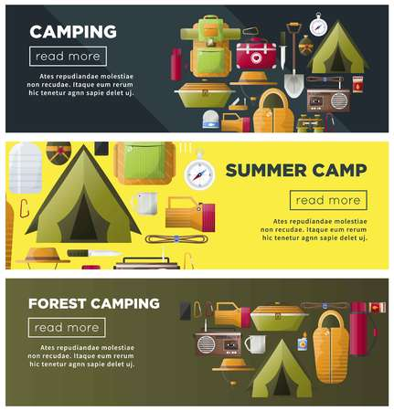 Summer camping and forest camp vector banners Stock Vector - 100761801