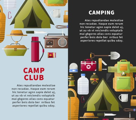 Summer camp club vector posters for forest camping