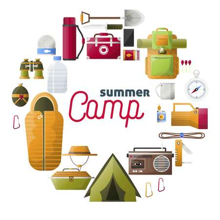 Summer camp vector posters of camping tools Illustration