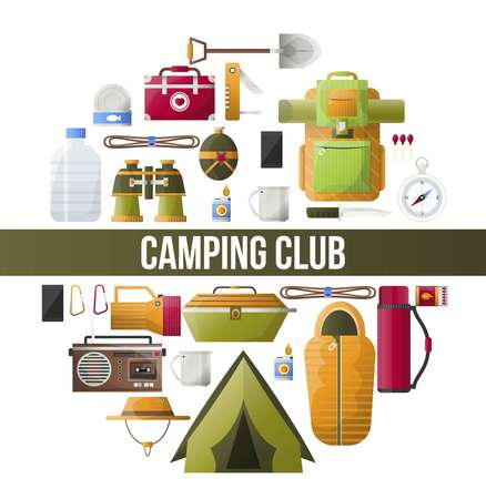 Summer camping club vector camp poster Illustration