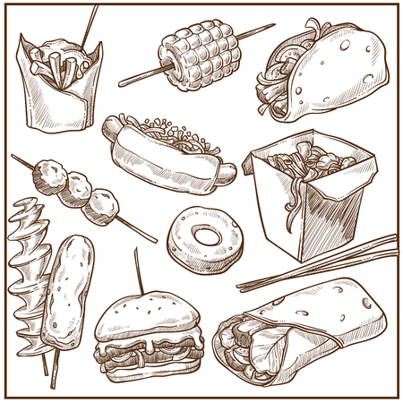 Rich delicious fast food dishes big monochrome collection