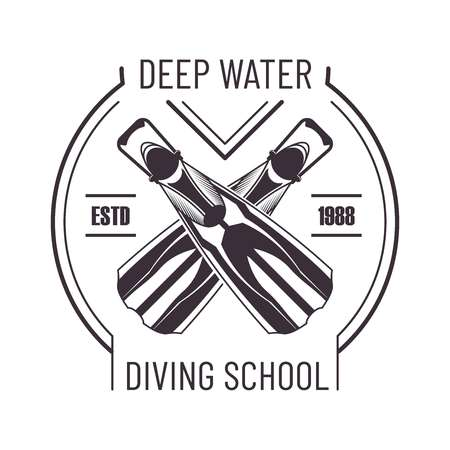 Deep water diving school monochrome promo logo. Crossed flippers to dive commercial emblem. Extreme underwater sport club logotype isolated cartoon flat vector illustration on white background. Ilustrace