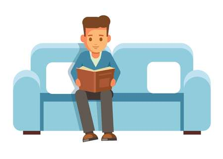 Boy student sits on couch with book and reads. Guy receives new information through textbook on comfortable sofa with soft cushions isolated cartoon flat vector illustration on white background. Illustration