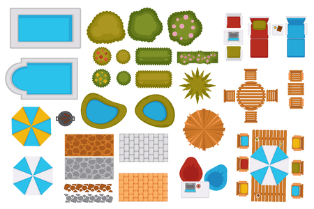 Swimming pools and backyard design elements set Stock Illustratie
