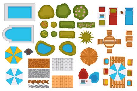 Swimming pools and backyard design elements set Vectores