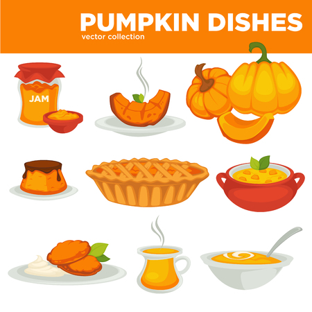 Delicious pumpkin dishes for main course and dessert set