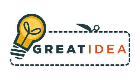 Great idea promo logotype with light bulb and sign Çizim