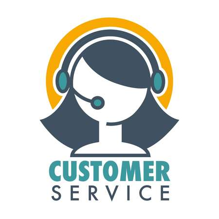 Customer service promotional emblem with woman operator in headset. Informative help about bought product logo. Aid line emblem isolated cartoon flat vector illustration on white background.