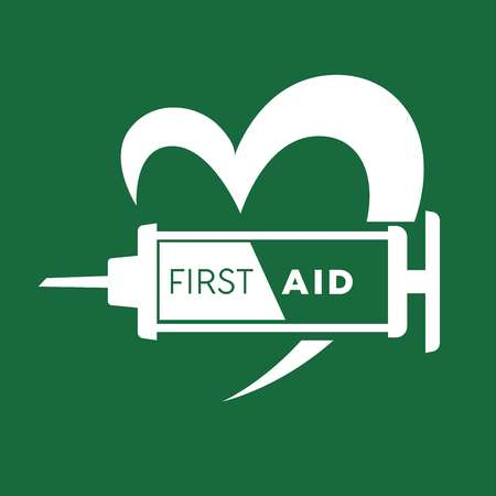 Medical first aid logo template. Vector isolated icon of heart and syringe for ambulance assistance, clinic or cardiology hospital center Illustration