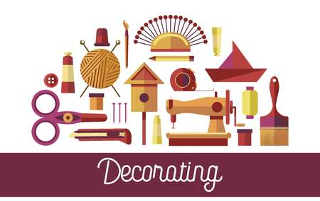 Decorating handicraft tools and art design instruments icons for hobby poster. Vector creative craft workshop or DIY for handmade painting, knitting or tailoring and origami or woodwork decor studio
