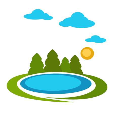 Nature landscape vector cartoon forest lake. Summer trees on lawn, sun and clouds in sky background