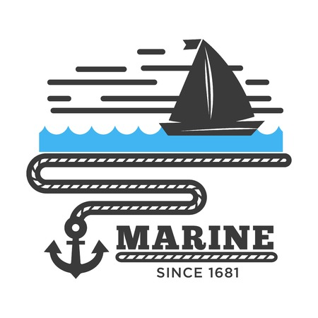 Yacht on wave and anchor icon for marine or nautical concept. Vector isolated flat logo symbol of sea boat with sails for yachting club