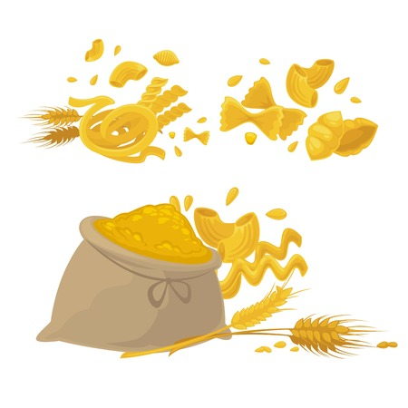 Pasta and wheat or cereal flour icons. Vector design of spaghetti, durum fettuccine and farfalle with flour bag and wheat spikelets for Italian pasta cuisine Vettoriali