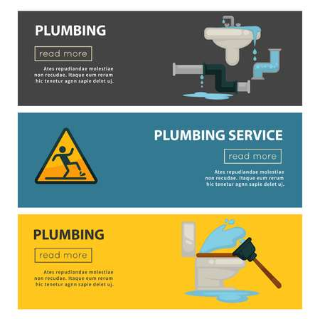 House plumbing service web banners of plumber work tools. Vector flat design of kitchen sink and bathroom sewerage and water pipe leakage fixture or wet floor caution sign