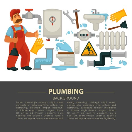 House plumbing service poster of plumber work tools icons. Vector flat design of plumber repairman with spanner for kitchen sink and bathroom sewerage fixture, water pipe or heater leakage