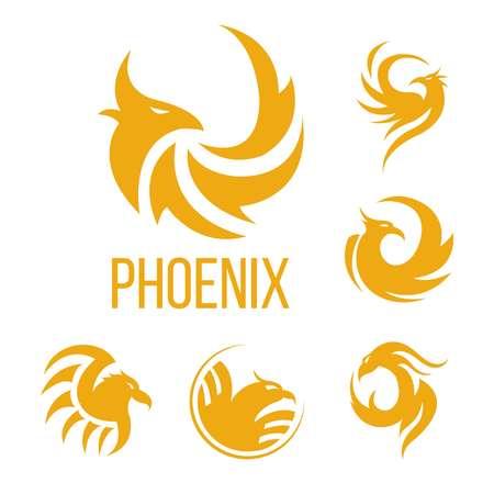 フェニックスファンタジー鳥のロゴテンプレート。航空会社、入れ墨のデザインや会社のシンボルのための炎の火の翼の黄金の神秘的な火の鳥のベクトルアイコン