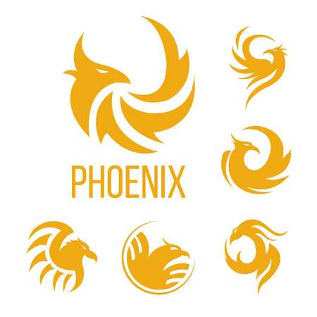 Phoenix fantasy bird logo templates. Vector icons of golden mystic firebird in flame fire wings for airlines, tattoo design or company symbol