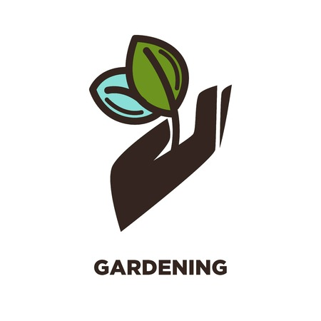 Gardening logo icon template for farmer garden service and gardener tools shop. Vector symbol of pant leaf in hand for agriculture and horticulture Illustration