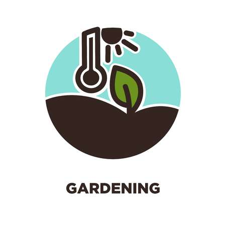 Gardening logo icon template of pant leaf grow under sun with sole thermometer. Vector icon for farmer garden service and gardener tools shop or agriculture and horticulture concept Illustration