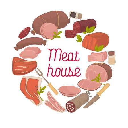 Meat house poster of sausages and butchery delicatessen for farm shop or market.