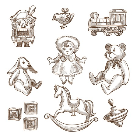 Retro toys sketch collection of vintage doll or nutcracker, horse swing and plush bear or bunny. Vector hand drawn icons of alphabet cubes and clockwork plaything, toy train and spinning top Illustration