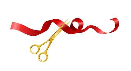 Schere, die rotes Bandsymbol für Eröffnungsereignis schneidet. Vektor lokalisierte goldene Scherenikone für offenes VIP-Zeremonienschnitt-Gestaltungselement Standard-Bild - 101069525