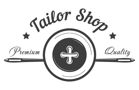 Tailor shop logo template of button and needle.