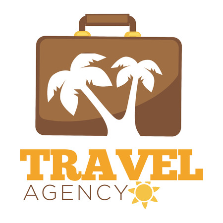 Travel agency logo template of suitcase and palm.
