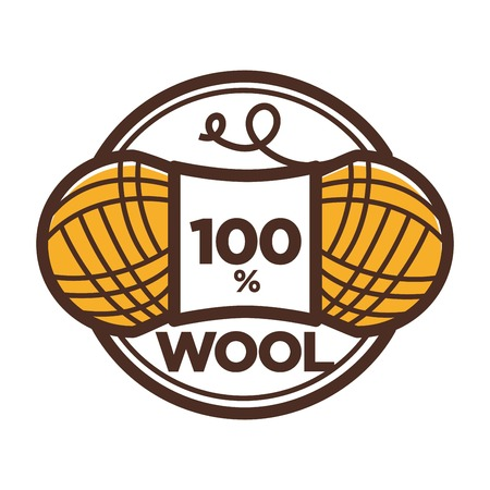 Wool clew for 100 percent textile label or knitwear and knitted clothing label tag. Vector isolated icon of wool yarn