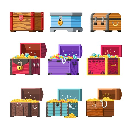 Wooden chests locked and open full of treasuries set. Ancient gold coins and jewelry with diamonds in old heavy containers isolated cartoon flat vector illustrations collection on white background.
