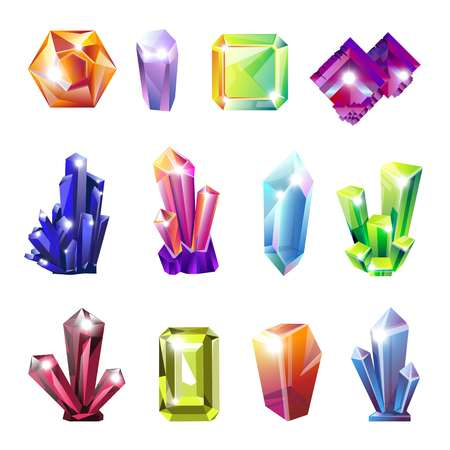 Shiny precious natural crystals of all shapes set. Uncut expensive stones in natural form of bright gradient colors. Big raw gems isolated cartoon flat vector illustrations on white background.