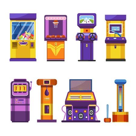 Retro game-machines met joysticks en grote schermen. Speciale automatische apparaten om plezier te hebben, dansgevechten te maken, kracht te tonen en speelgoed geïsoleerde vectorillustraties op witte achtergrond te winnen. Vector Illustratie