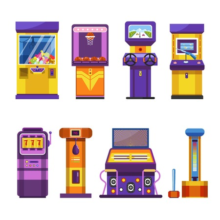Retro game machines with joysticks and big screens set. Special automatic devices to have fun, make dance battle, show strength and win toy isolated vector illustrations on white background.