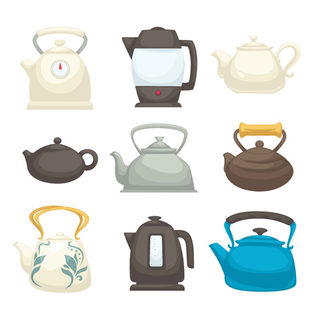 Modern and retro kettles set of all designs. Teapots of fragile ceramics, solid metal and electric devices of special plastic isolated cartoon flat vector illustrations collection on white background. Stock Illustratie