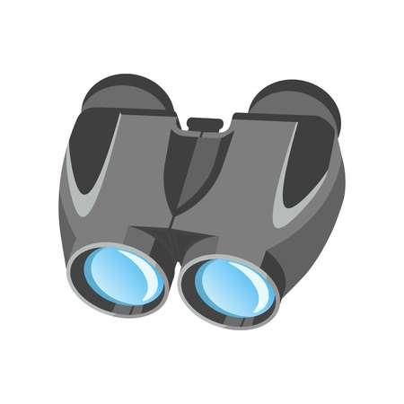 Pair of modern binoculars with powerful zoom in metal corpus Illustration