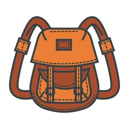 Retro backpack of waterproof beige fabric with many pockets Ilustração