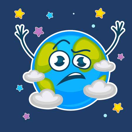 Earth planet with confused face among stars and clouds