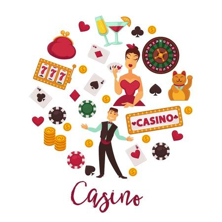 Casino round promo emblem with gambling equipment set