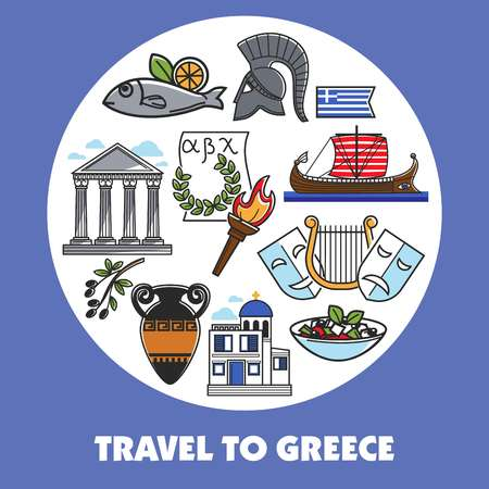 Travel to Greece promo poster with national symbols