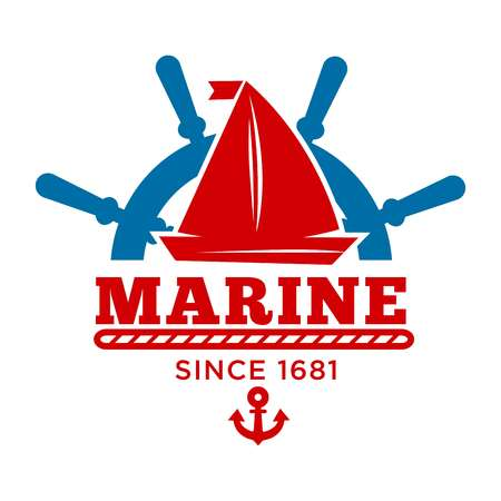 Marine club since 1681 promo emblem with sailboat and rudder