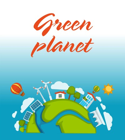 Green planet agitative poster with solar batteries and windmills