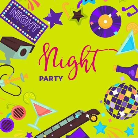 Night party promo poster with shiny disco themed elements Stock Photo