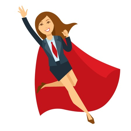 Superwoman in office skirt suit and red cloak