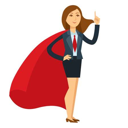 Superwoman in heroic pose with large red cloak Illustration